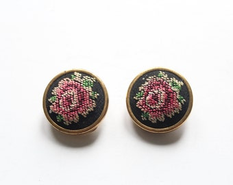 Vintage Pretty Petit Point Rose Clip-on earrings