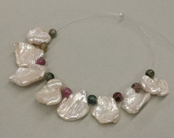 1 Set, Freshwater Keishi Pearls, Cornflake Pearls, Multi color Tourmalines, Pearl and Tourmaline Strand, DIY Supplies, Handmade Jewelry