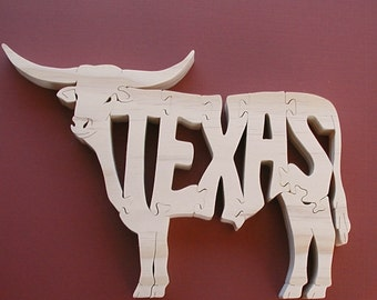 Texas Long Horn Cow Toy Puzzle Cut On Scroll Saw