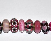 Lot of High Quality Handcrafted Pink and Black Murano European Beads