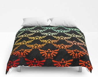 Zelda Comforter, Nintendo's Zelda Hylian Crest Comforter, Zelda Bedding, Zelda Blanket, Hylian Crest Comforter, Triforce Blanket