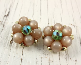 Vintage Moonglow Smoky Brown and AB Bead Cluster Earrings (retro 50s 60s clip round pinup pin up green plastic)
