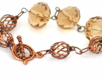 Topaz Bracelet, Copper Bracelet, Dressy Bracelet, Sporty Bracelet, Copper and Smokey Topaz Crystal Bracelet