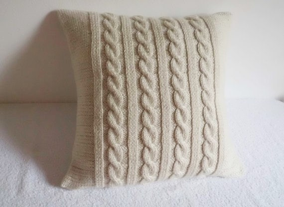 custom off white cable knit pillow cover natural throw. Black Bedroom Furniture Sets. Home Design Ideas