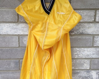 90s yellow club fubu jersey halter dress