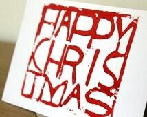 Red Happy Christmas handmade Christmas card