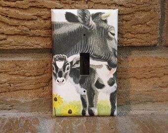 Momma Cow and her Baby Calf Light Switch Cover, Farm Decor, Milk Cow, Nursery Decoration, Country Decor, Baby Shower, Farm House, Cute Calf