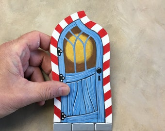 Blue Door with Red and White Trim Miniature Elf Fairy Door Art Acrylic Painting on Wood Cat in the Hat Dr. Seuss Colors
