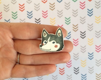 Husky Dog Brooch/Magnet/Earrings Husky Jewelry husky Pin Husky Jewellery Husky Magnet Husky Earrings