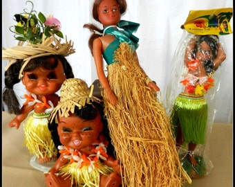 Vintage Hawaii Hula Dolls Group