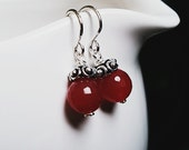 Petite sterling silver & red natural ruby drop earrings