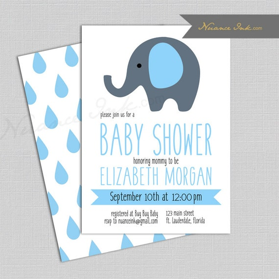 Elephant Baby Shower Invitations, any color, diy, simple cute and elegant, printed or digital file, 24 hr turnaround
