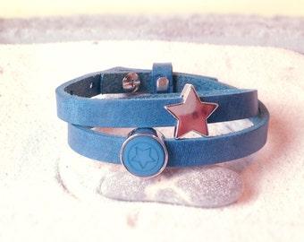 Cuoio leather bracelet blue stars