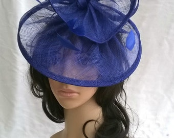 Sapphire Blue Fascinator ..Sinamay and  feather Fascinator