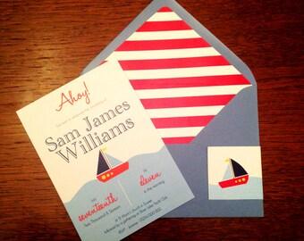 Ahoy - Nautical/Sailboat Christening/Birthday Invitation Template