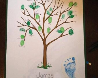 Naming day or Christening fingerprint tree guest book / Alternative Christening Guest book