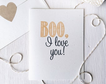 Rustic Halloween Card, Holiday Card, Stationery, Stationary, Rustic Greeting Card, Boo Card, Funny Greeting Card, Love You, Thinking of You
