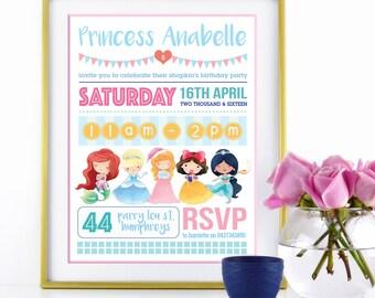 "INVITATION - Disney Princess Birthday Invitation for Girls Party - Personalised 5x7"" - Modern, Contemporary - Printable, Digital"