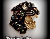 Vintage large 3D enamel panther/leopard brooch, black & gold, rhinestone eyes, unsigned Hattie Carnegie