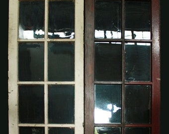 "48""x83"" Pair Antique French Solid Wood Double Door Window Wavy Glass Lite Pane"