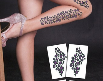 SUMMER SALE  Cheetah spots set of 4!  in purple Temporary Tattoo