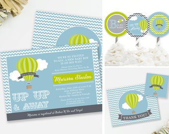 Up and Away Invitation Set, Travel Baby Shower, Hot Air Balloon Theme, Thank You Favor Tags, Baby Shower Thank You, Printable Invite, #A3