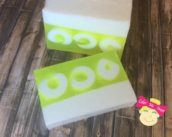 Lemon soap, yellow soap, fruity soap, swirl soap, scented soap, homemade soap