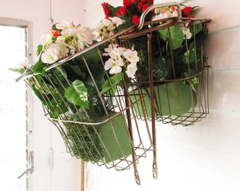 Bicycle Baskets/Panniers - Side Saddle Baskets for Old Bike - Rusted  - Restore - Decorative and Useful - Designer