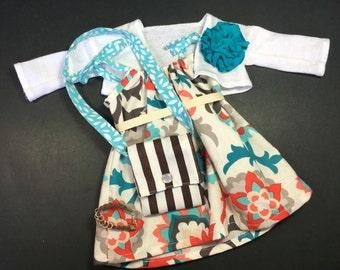 Doll Clothes, Doll Dress, Floral Dress, Messenger Bag, White Cardigan w/Flower Pin & Bracelet