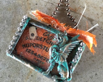 On Wings Ouija board - Double Sided Soldered Charm Necklace by Susan A Ray
