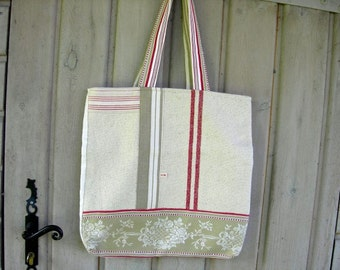 Bag Tote Handmade  Shabby Chic Nice and Roomy Vintage Material       Original Design. OOAK, Lined tote bag, Patchwork Tote Bag, Solid Bag