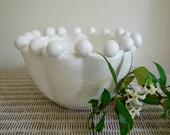 White Bubble Rim Bowl, Wheel Thrown Pottery
