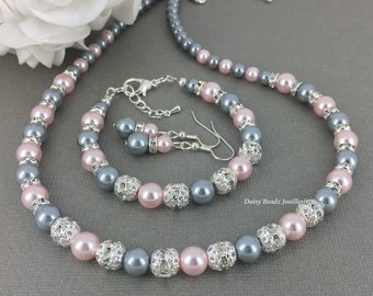 Grey and Blush Jewelry, Pearl Necklace, Gray and Pink, Jewelry Gift for Her, Bridesmaid Gifts, Bridesmaids Necklace, Gray and Pink Wedding