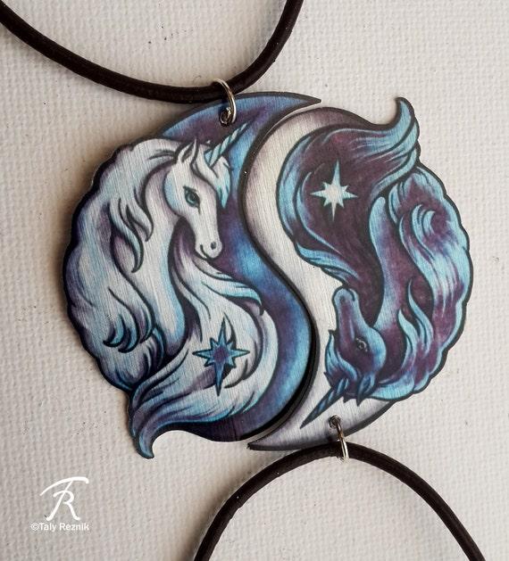 black white yin yang unicorn fantasy horse spiritual duality