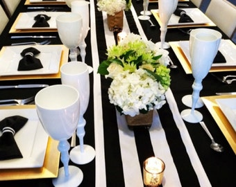 Black and white stripe table runners, wedding tables,birthday parties