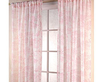 One pair pink toile curtains