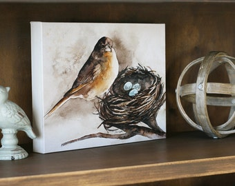 for her mom gift bird painting bird canvas painting shabby chic wall hanging CANVAS REPRODUCTION french country room decor cottage chic h