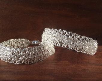 Doubled Crochet Silver Bracelet, Wire Crochet, Statement Bracelet