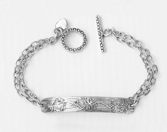 Art Deco Sterling Silver Bracelet with Charm Dangle
