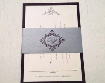 Monogram Wedding Invitation // Belly Band Invitation // Classic Invitation