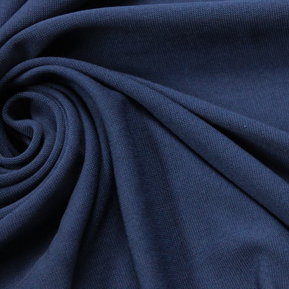 Deep Blue Modal Poly Sand Wash Jersey Cupro Knit Fabric By