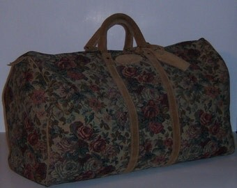 Vintage French Luggage Tan Brown Rose Floral Flower Pattern Tapestry Suede Duffel XL Speedy Satchel Carry On Bag Tote Duffle
