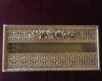 Romantic Hollywood regency gold Filigree tissue box with roses