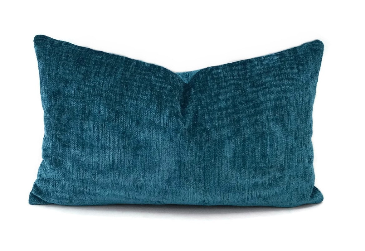 Deep Turquoise Chenille Pillow Cover Dark Teal Throw Pillow