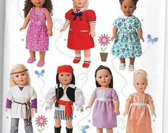 1344 Simplicity 18 Inch Doll Clothes Sewing Pattern Sailor Dress Hippie Pirate Jane Austen