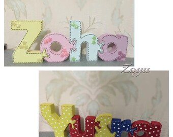 Personalised wooden Jigsaw name puzzle  - Handpainted and decorated nursery decoration - Girls / Boys / keepsake