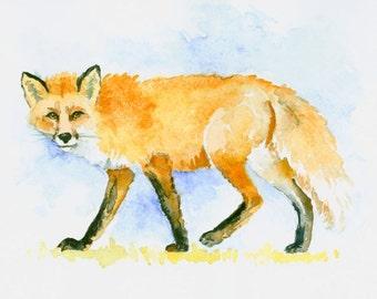 Fox original watercolor painting 10 X 8 in red fox art fox wildlife animals 10 X 8 in