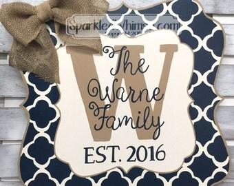 Year Round Door Decor: All Season Door Hanger Family Name Door Hanger Seasonal Door Sign Wooden Door Hanger (Navy Blue/Mink Tan)