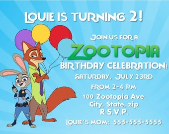 Zootopia Birthday Invitation - Print Your Own - Digital File