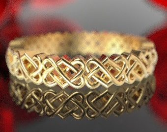 Gold Celtic Wedding Ring With Heart Knotwork Design in 10K 14K 18K Gold or Palladium, Made in Your Size Cr-1033